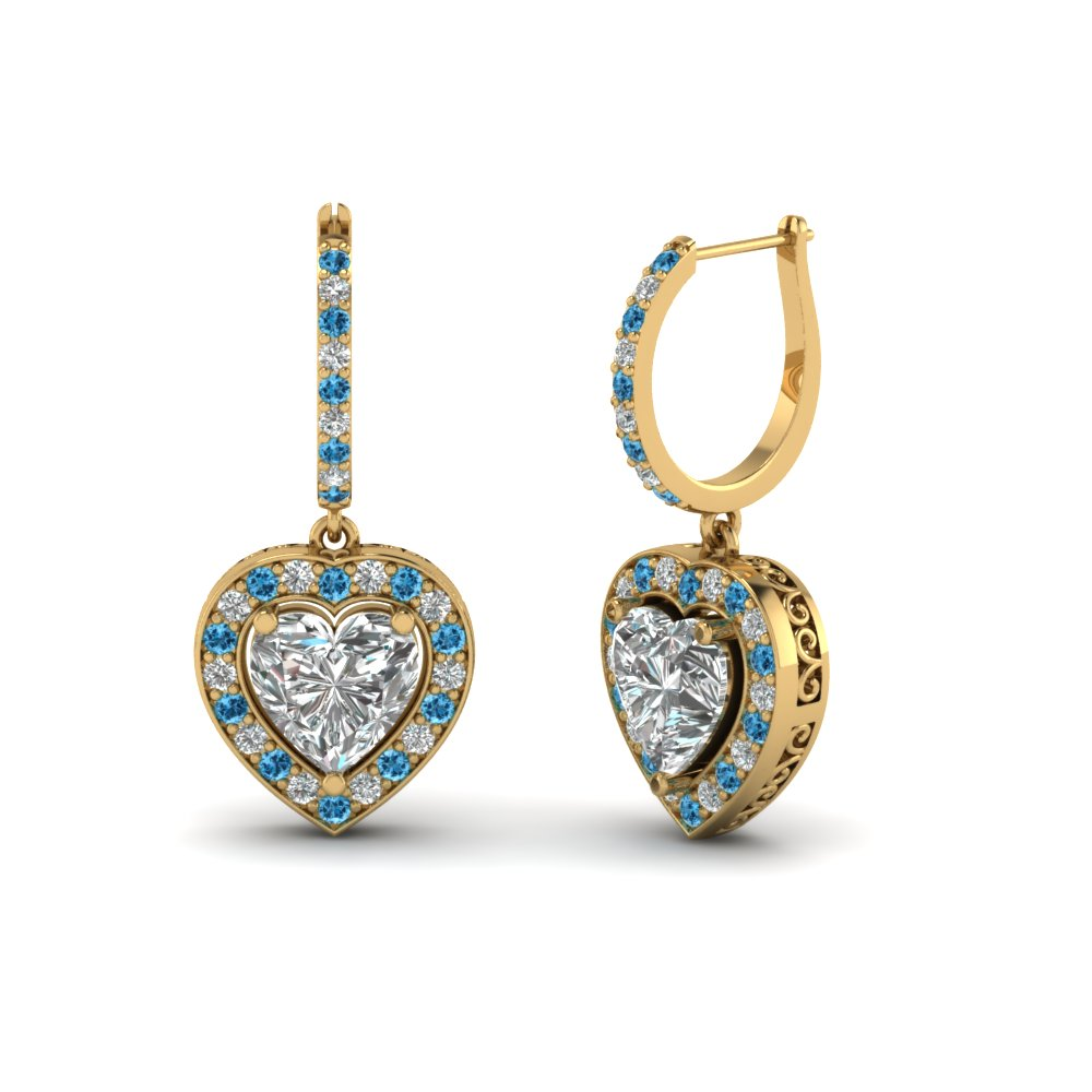 Blue Topaz Accented Heart Shaped Halo Earrings