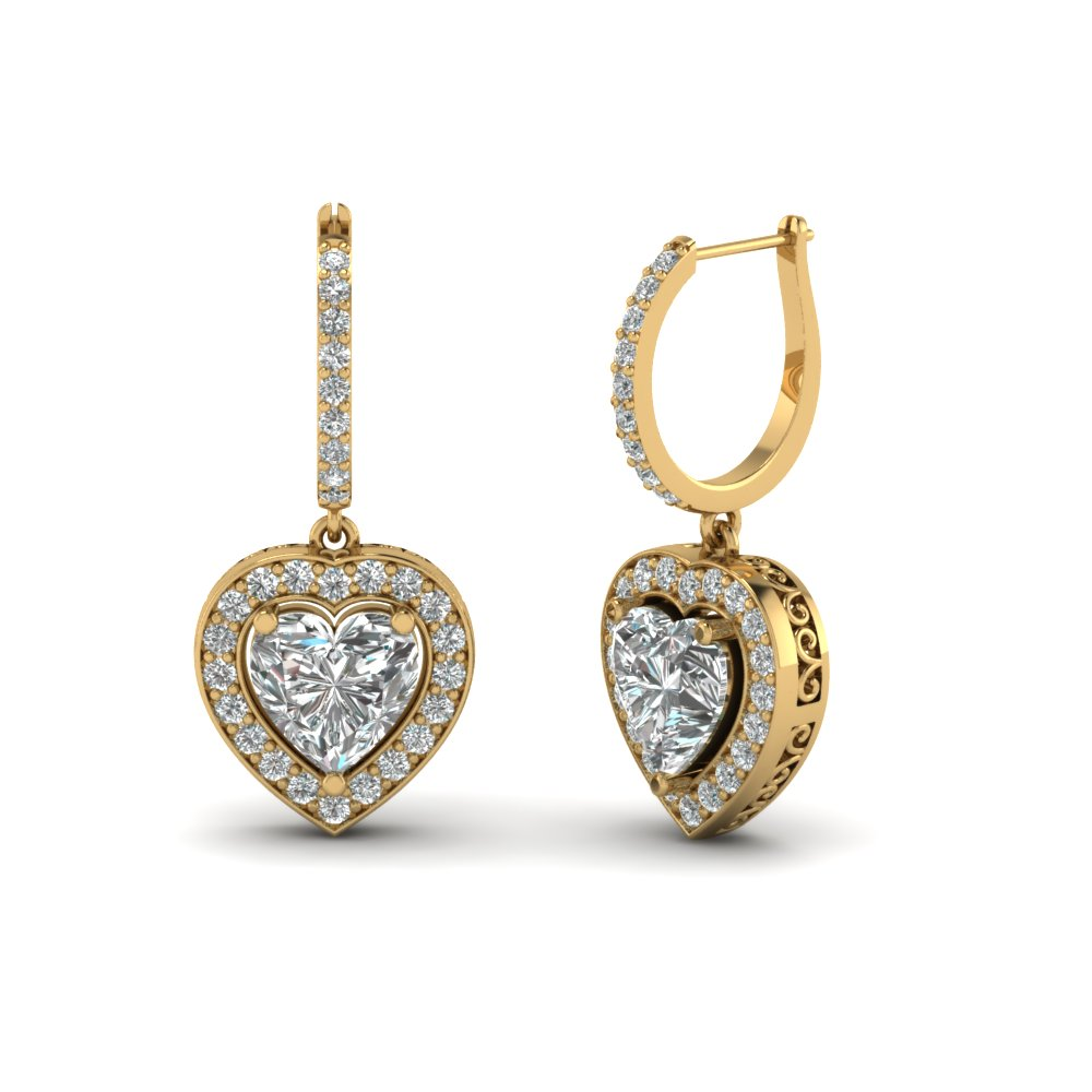 heart-shaped-diamond-halo-hoop-earrings-with-white-diamond-in-14K-yellow-gold-FDEAR1107-NL-YG