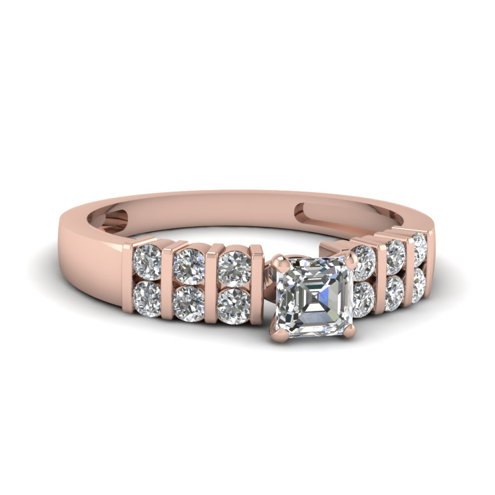 2 Row Bar Set Asscher Diamond Ring In 14K Rose Gold