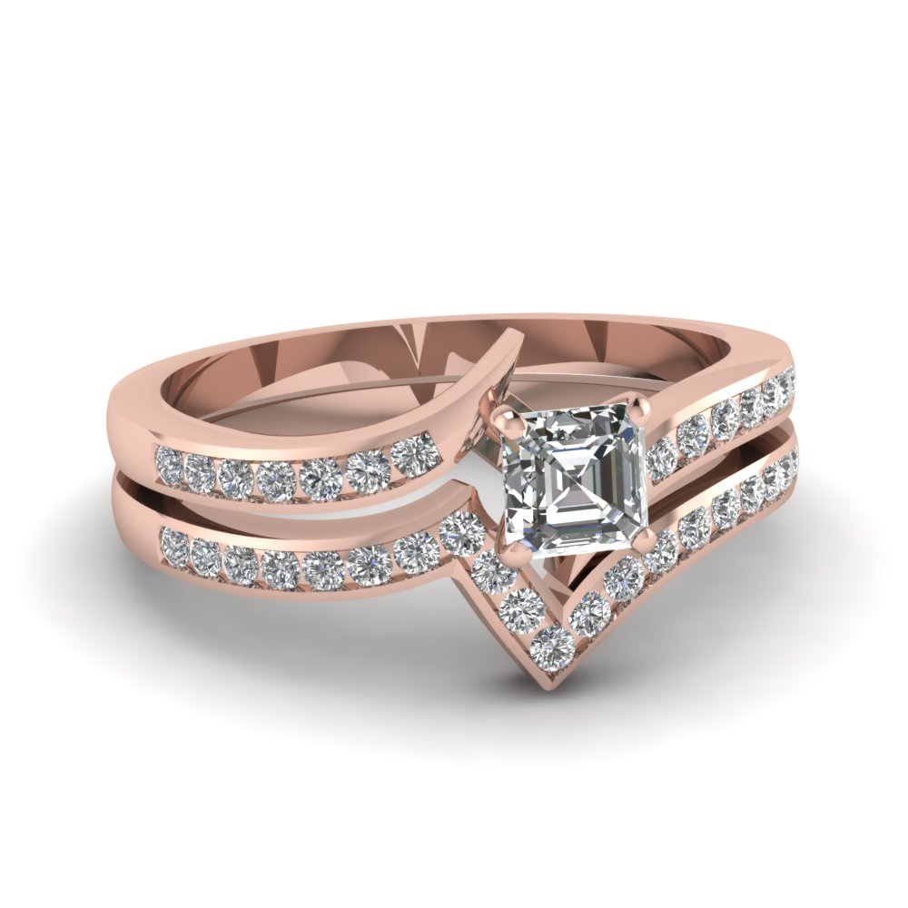 Asscher Cut diamond Wedding Ring Set
