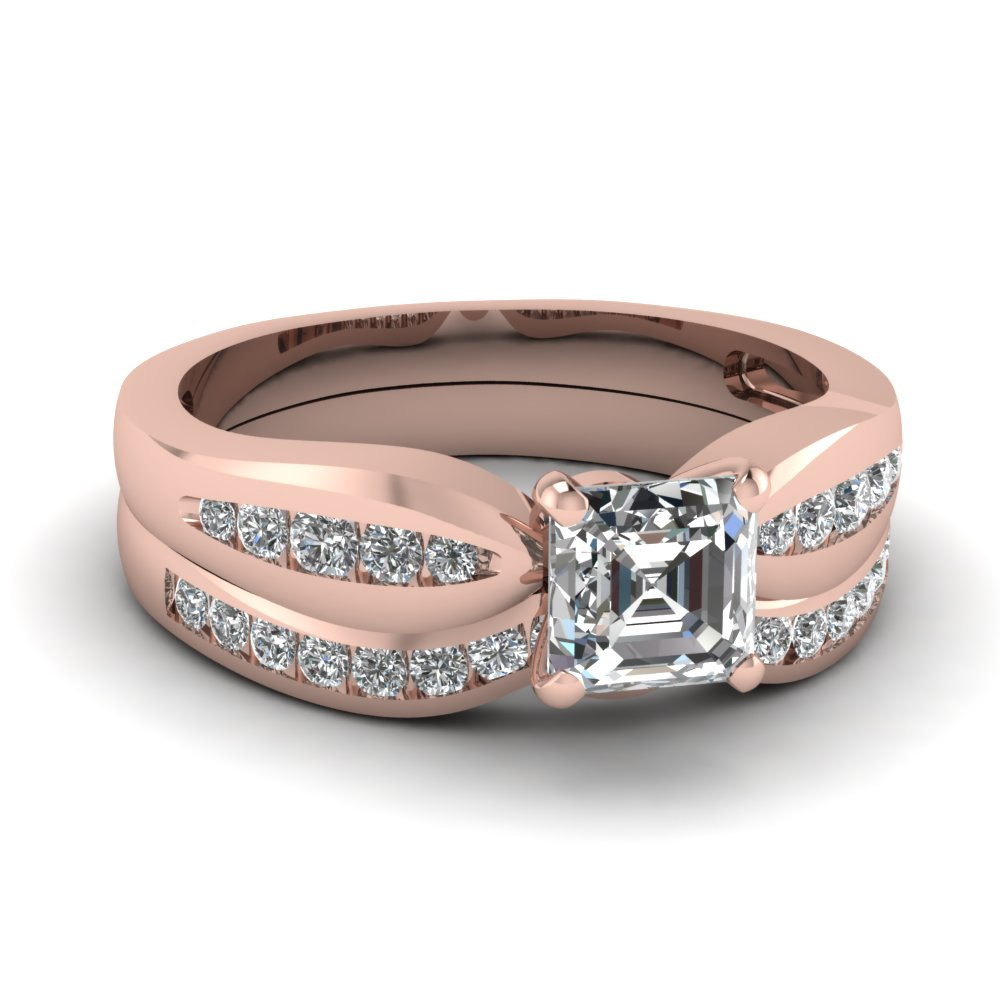 Asscher Cut Rose Gold Wedding Set
