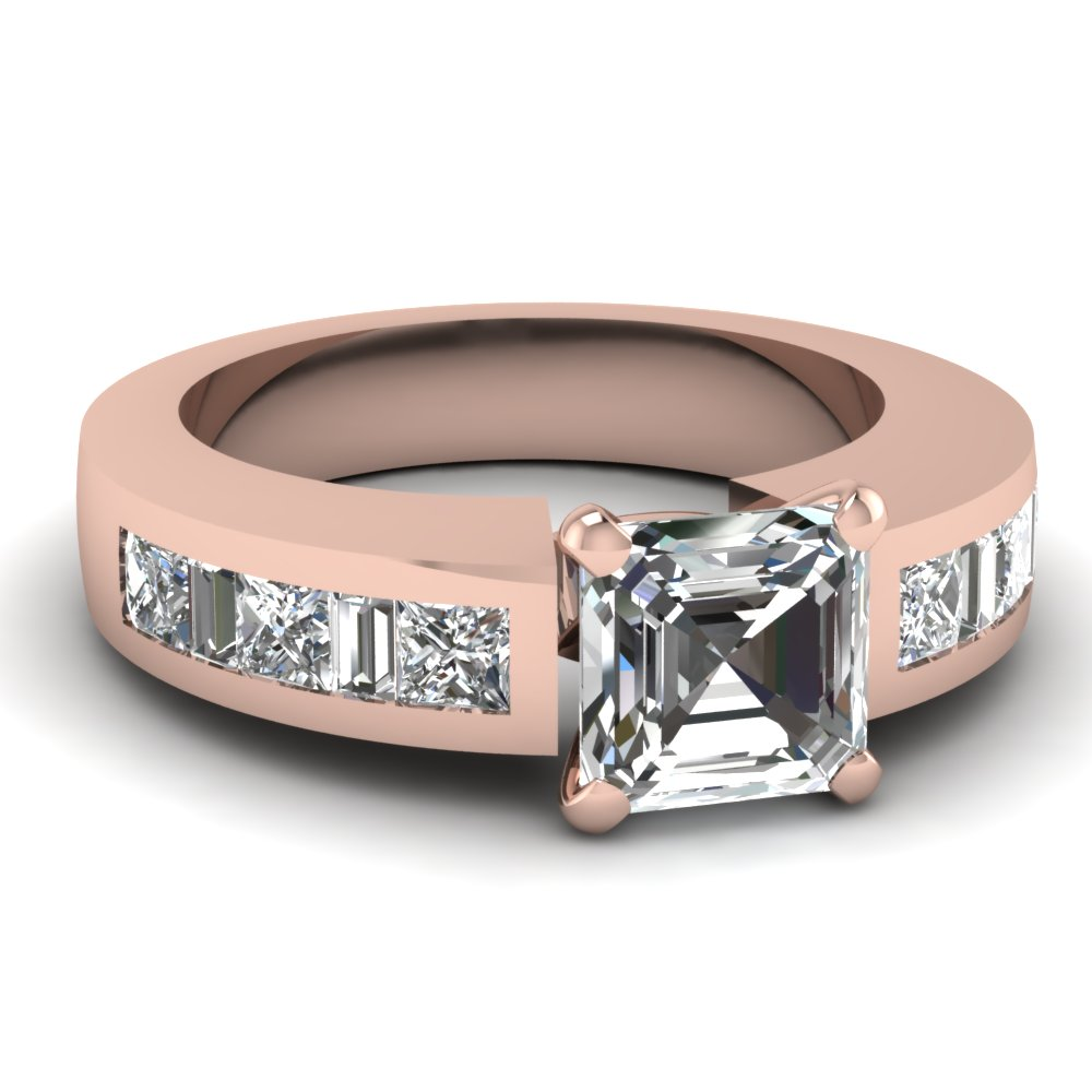 Baguette Asscher Diamond Rose Gold Engagement Ring