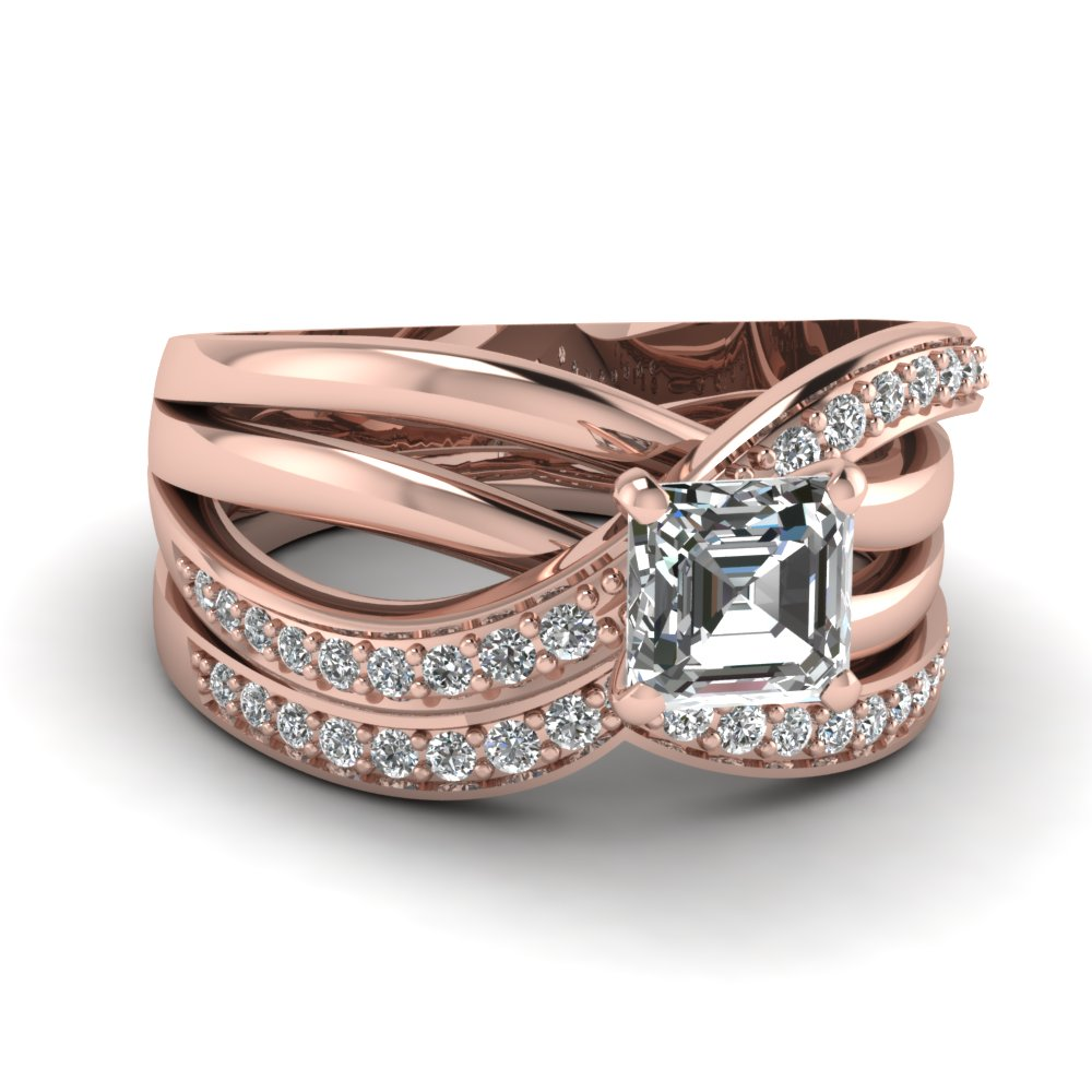Bow Asscher Wedding Ring Set