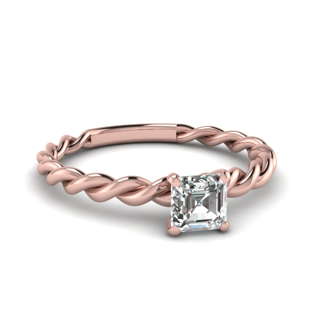 Rose Gold Asscher Cut Solitaire Rings