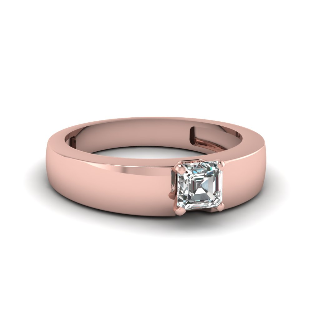 2 Ct. Diamond Solitaire Mens Flat Engagement Ring In 14K Rose Gold ...