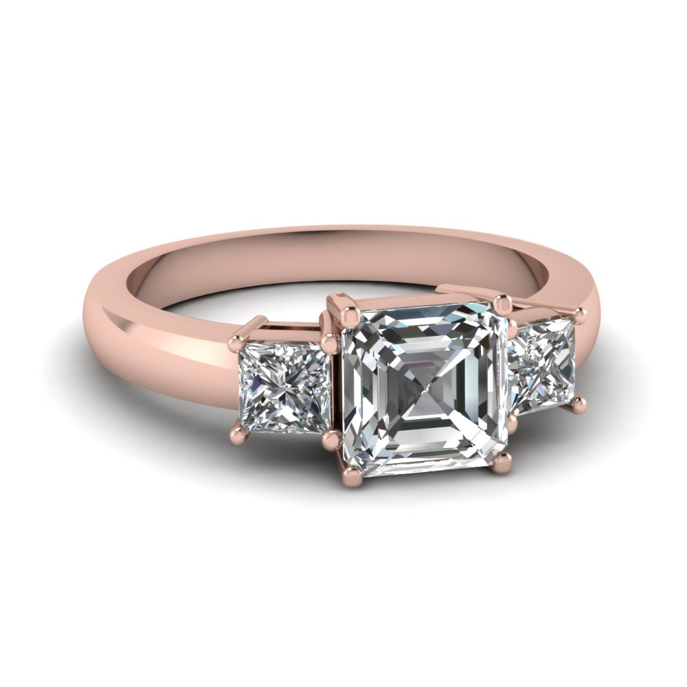 Asscher Cut 3 Stone Engagement Ring