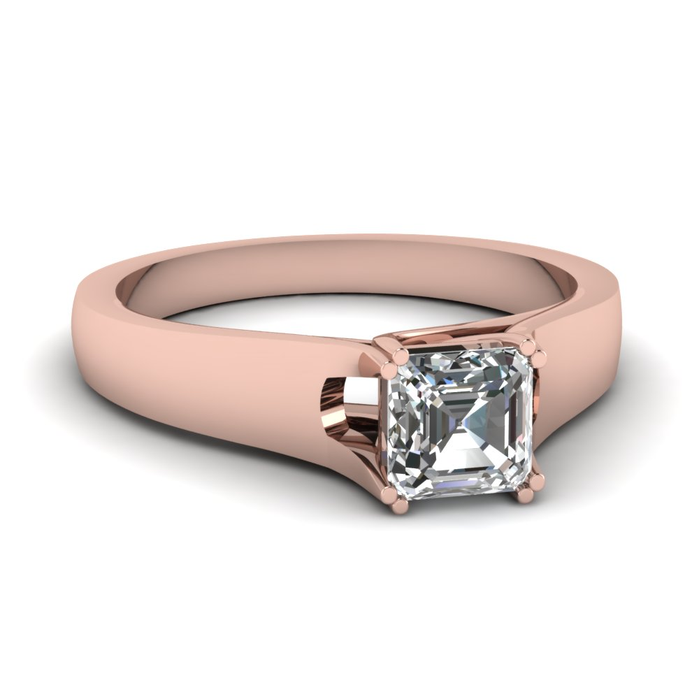 Rose Gold Asscher White Diamond Engagement Wedding Ring In Prong Set