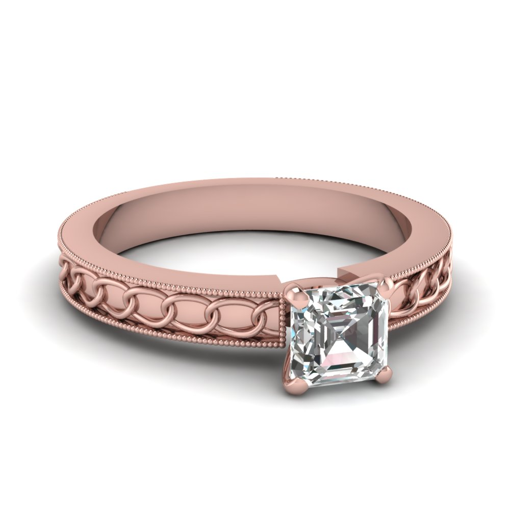 Interlocked Design Asscher Solitaire Engagement Ring In 18K Rose ...