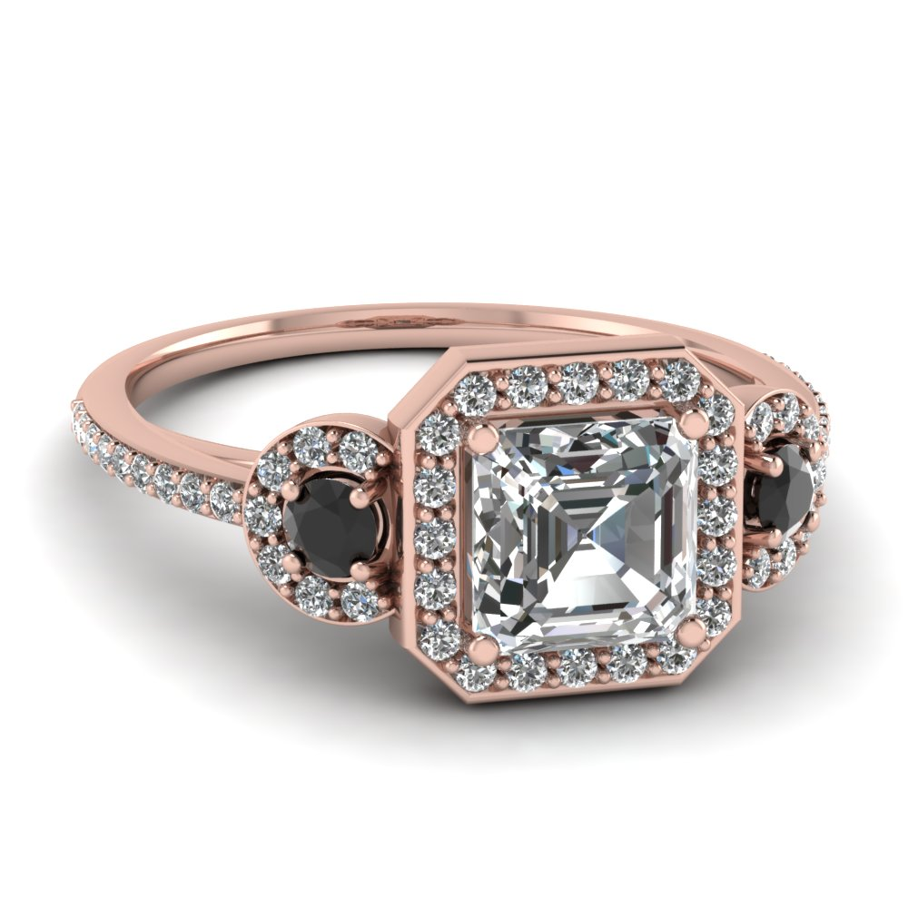 Art Deco 3 Stone Halo Asscher Engagement Ring With Black Diamond In
