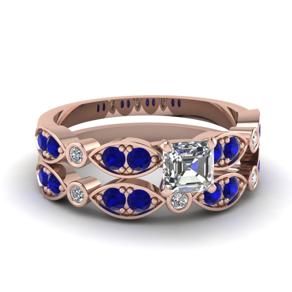 rose-gold-asscher-white-diamond-engagement-wedding-ring-with-blue-sapphire-in-pave-bezel-set-FDENS2035ASGSABL-NL-RG