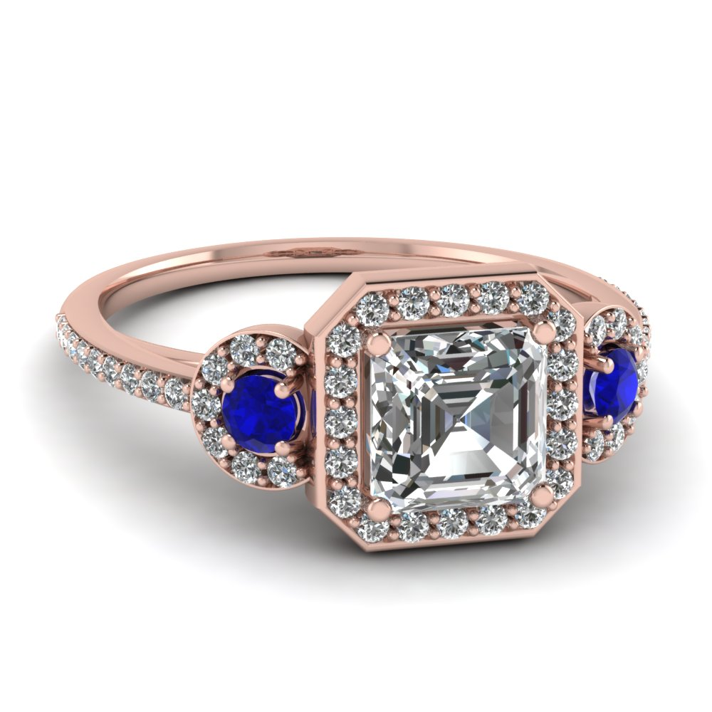 art deco 3 stone halo asscher diamond engagement ring with sapphire in FD121999ASRGSABL NL RG