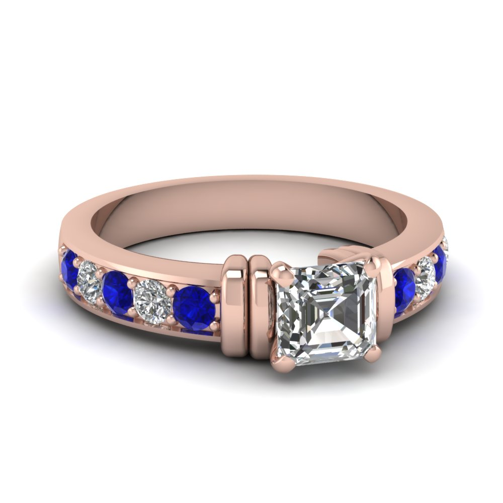 Simple Bar Set Asscher Diamond Engagement Ring With Sapphire In 14K Rose Gold