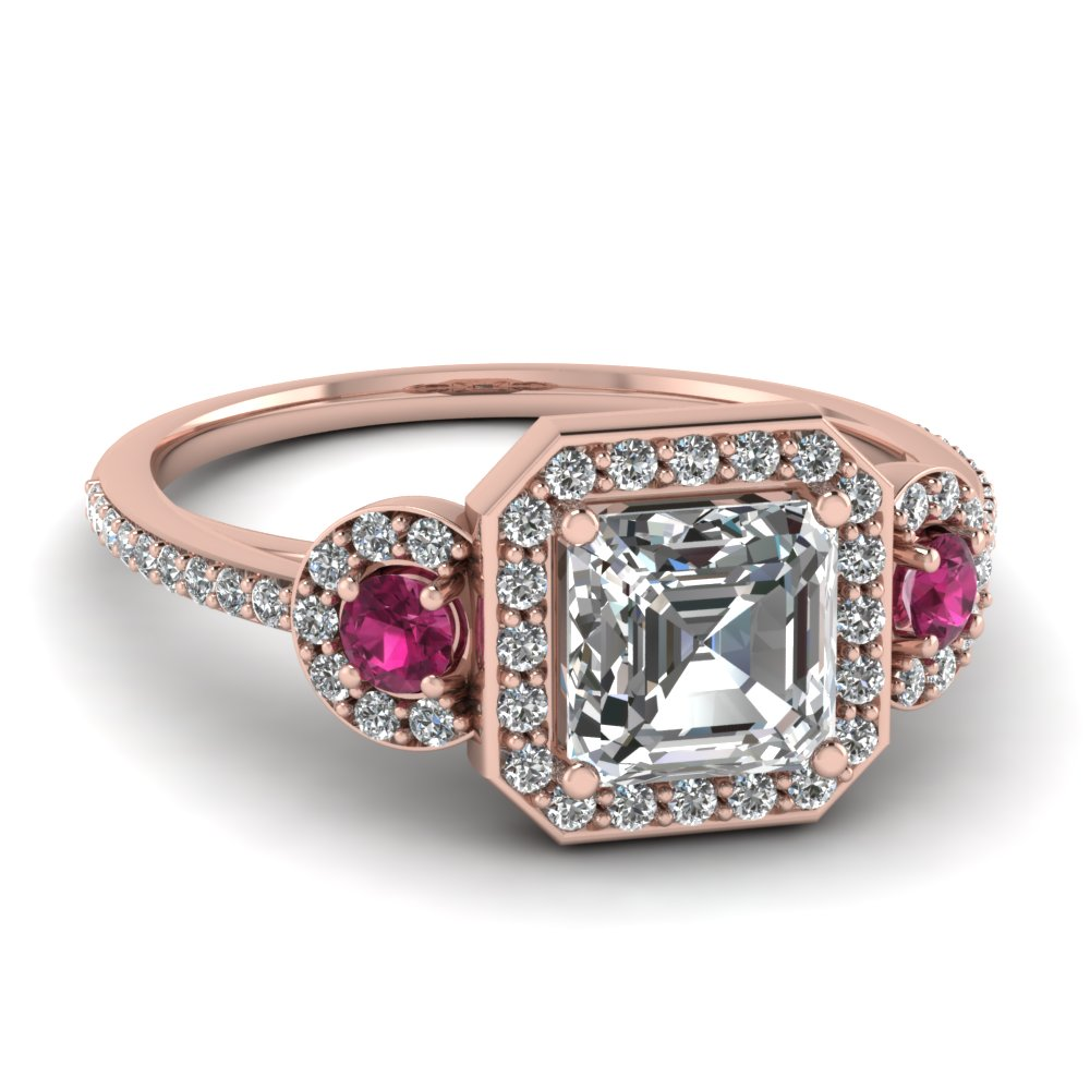 art deco 3 stone halo asscher moissanite engagement ring with pink sapphire in FD121999ASRGSADRPI NL RG