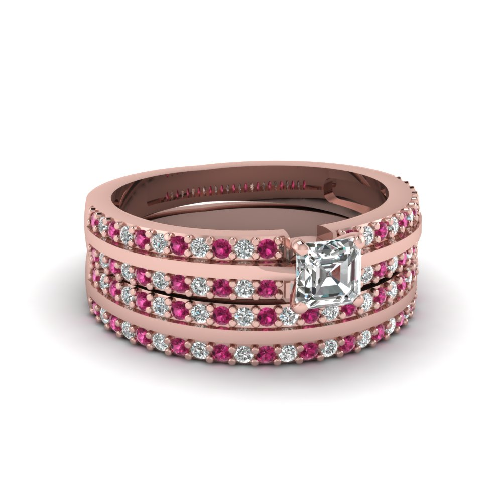 pave 2 row asscher diamond wedding ring set with pink sapphire in FDENS3013ASGSADRPI NL RG 30