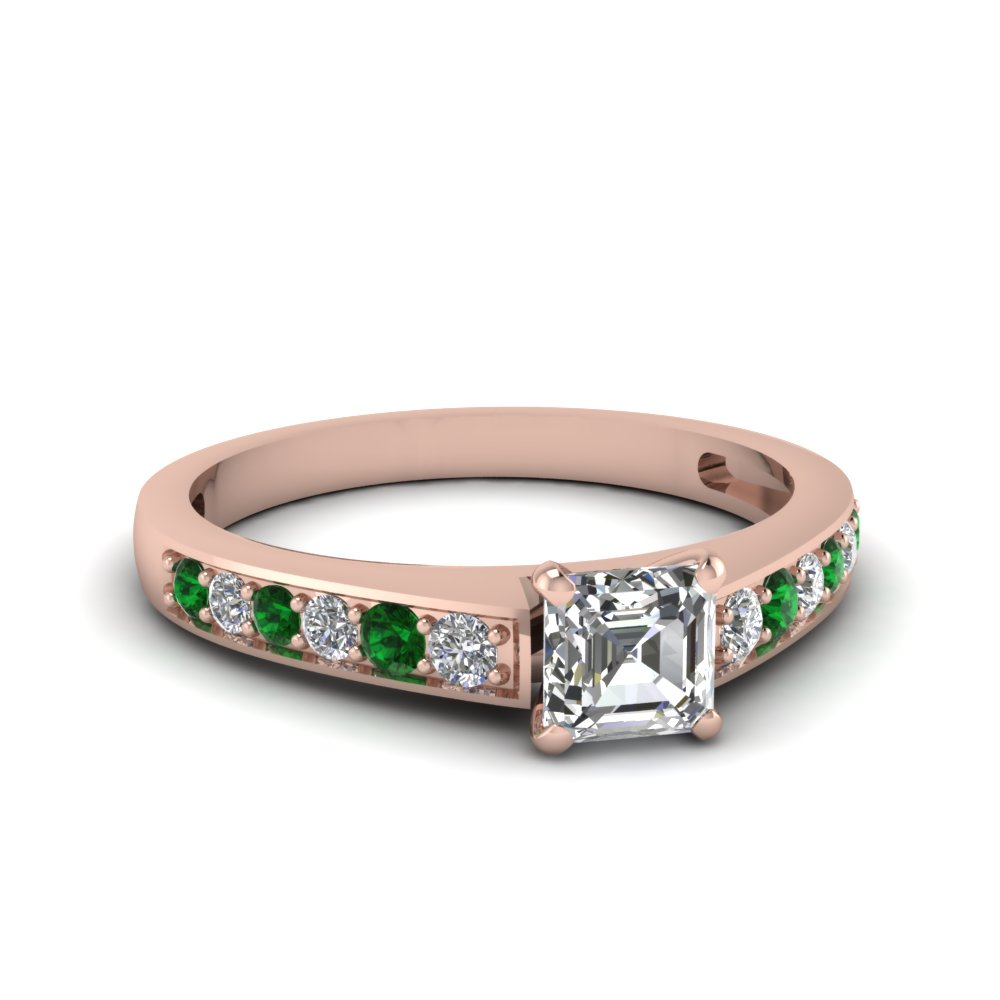 asscher cut pave diamond engagement ring with emerald in FDENS3002ASRGEMGR NL RG 30