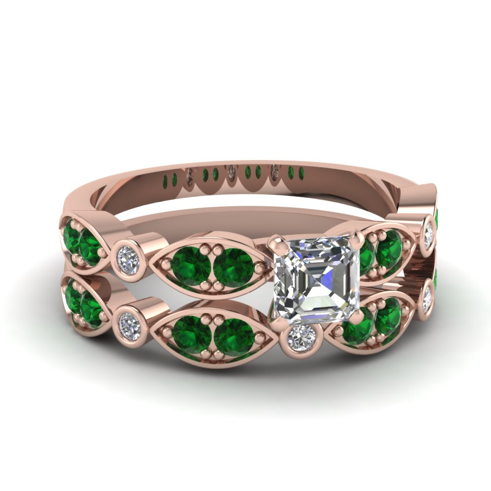 rose-gold-asscher-white-diamond-engagement-wedding-ring-with-green-emerald-in-pave-bezel-set-FDENS2035ASGEMGR-NL-RG