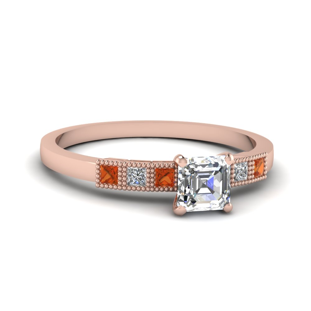 Asscher Moissanite Ring With Orange Sapphire