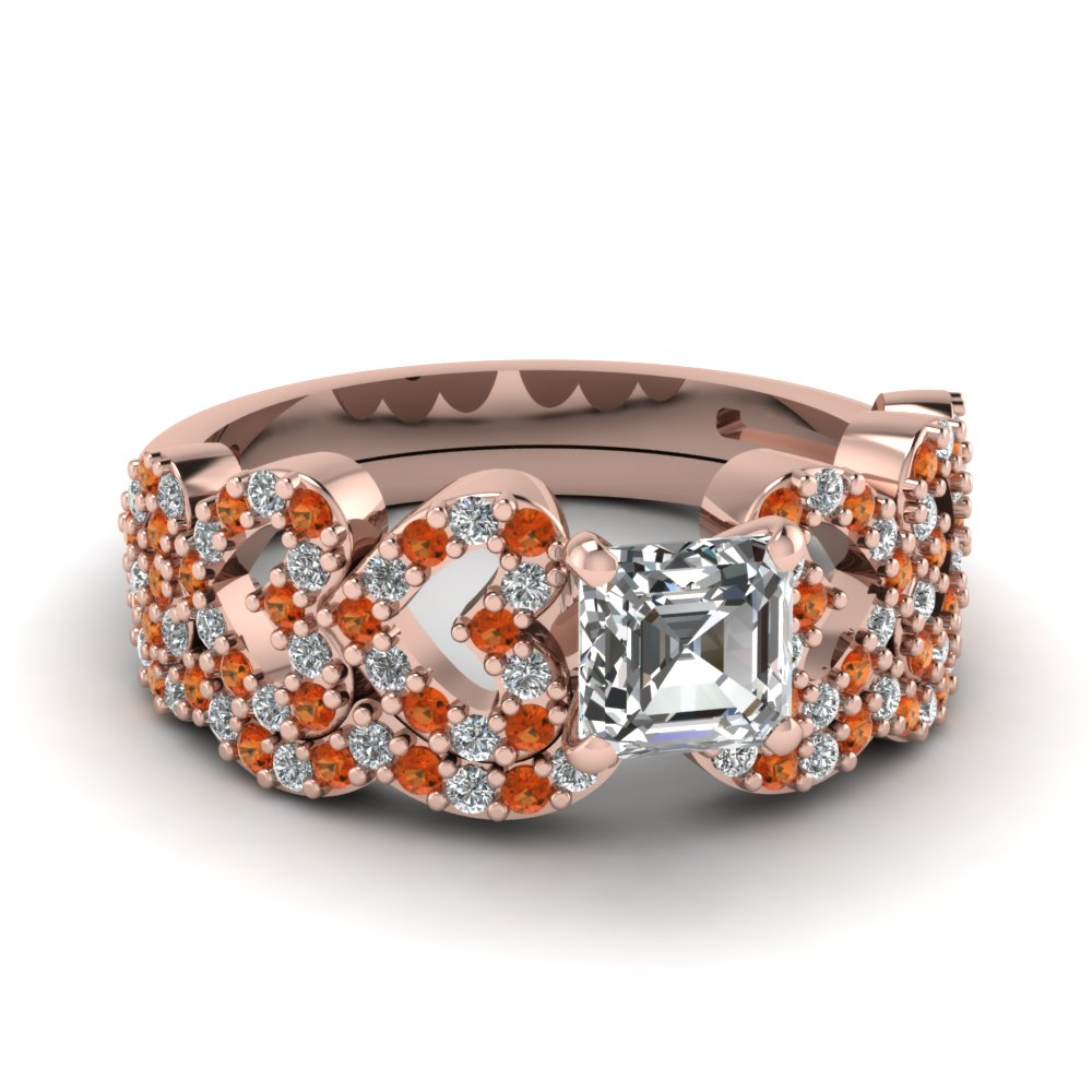 asscher cut heart design linked diamond wedding set with orange sapphire in FDENS3051ASGSAOR NL RG.jpg
