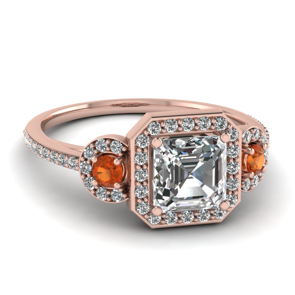 art deco 3 stone halo asscher diamond engagement ring with orange sapphire in FD121999ASRGSAOR NL RG