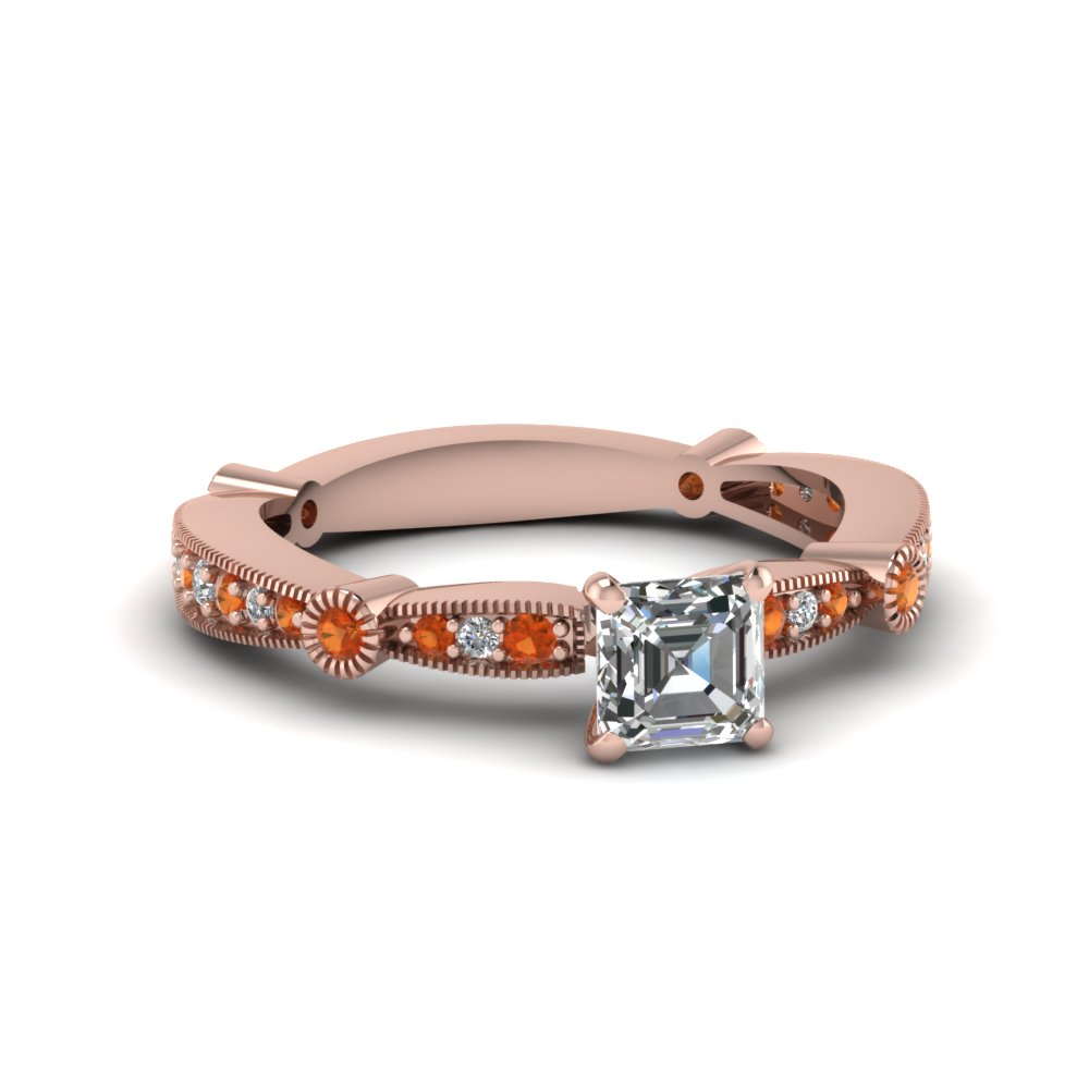 asscher diamond vintage tapered engagement ring with orange sapphire in FDENS3026ASRGSAOR NL RG