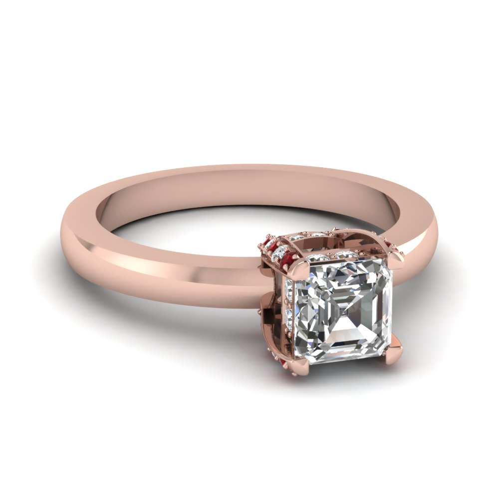 Asscher Cut Diamond Basket Ring