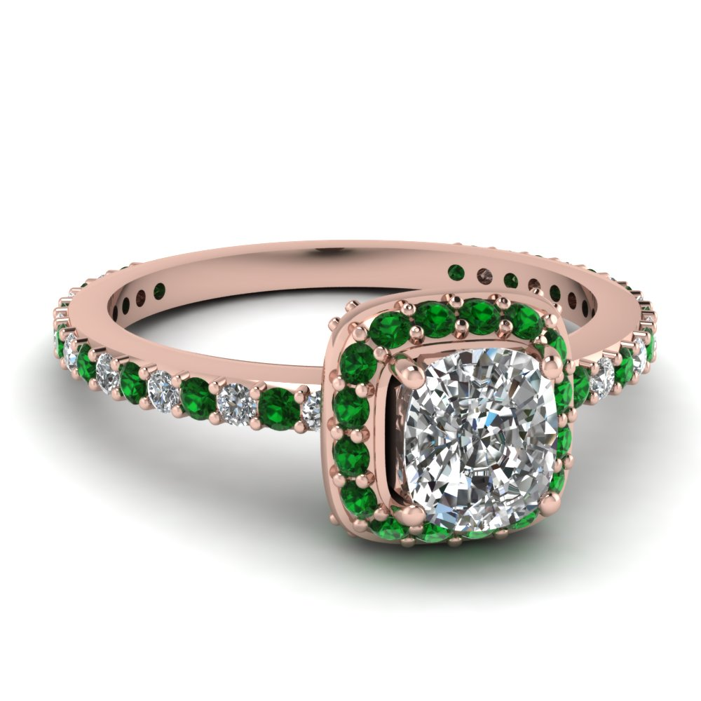 Cushion Cut Diamond & Emerald Ring