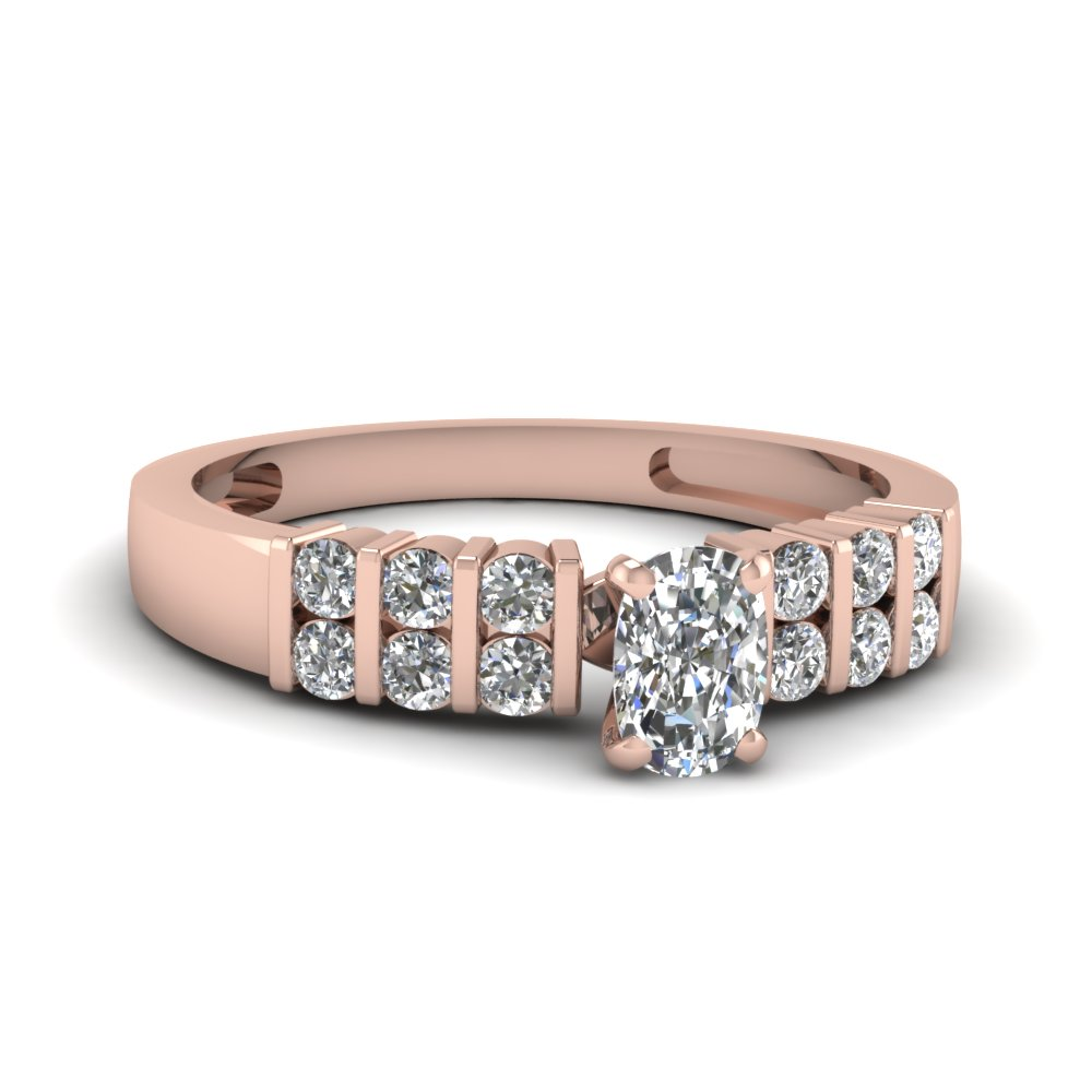 Cushion Cut Pink Gold Engagement Ring