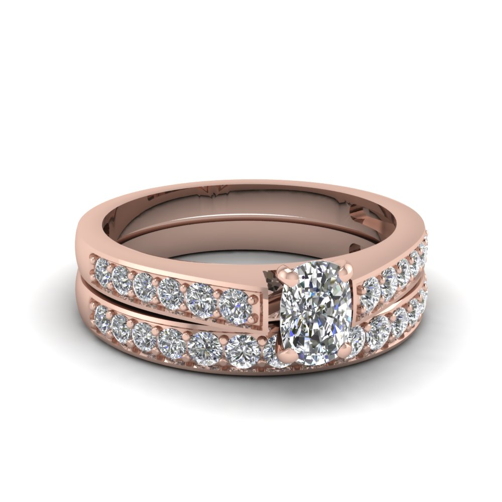 rose gold cushion white diamond engagement wedding ring in channel