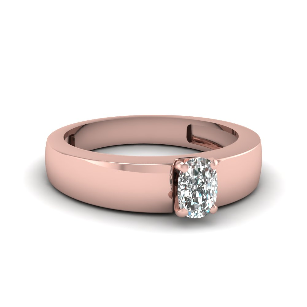 Flat Solitaire Cushion Cut Engagement Ring In 14K Rose Gold ...