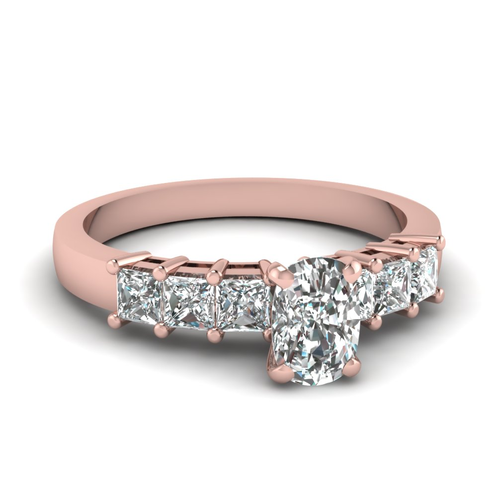 Huge Engagement Ring In Rose Gold With Cushion Cut Diamond