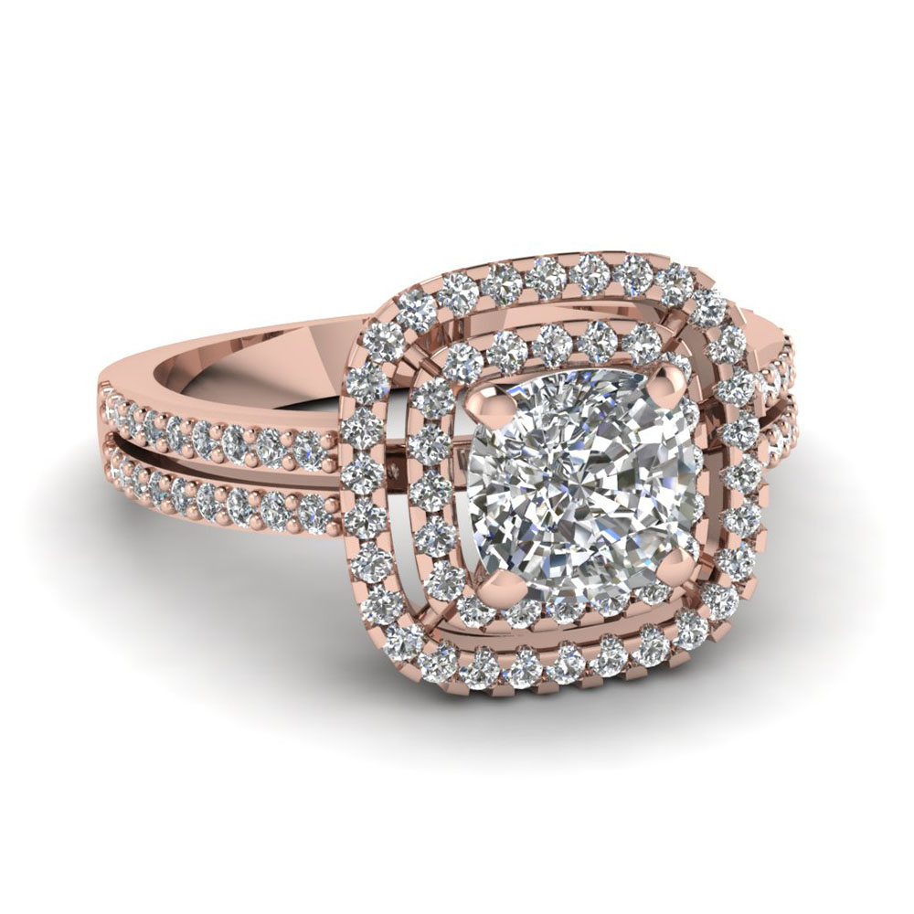 Rose Gold Wedding Ring.Square Double Halo Engagement Ring