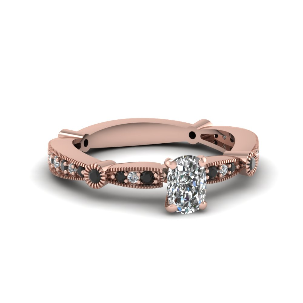Cushion Cut Milgrain Engagement Rings
