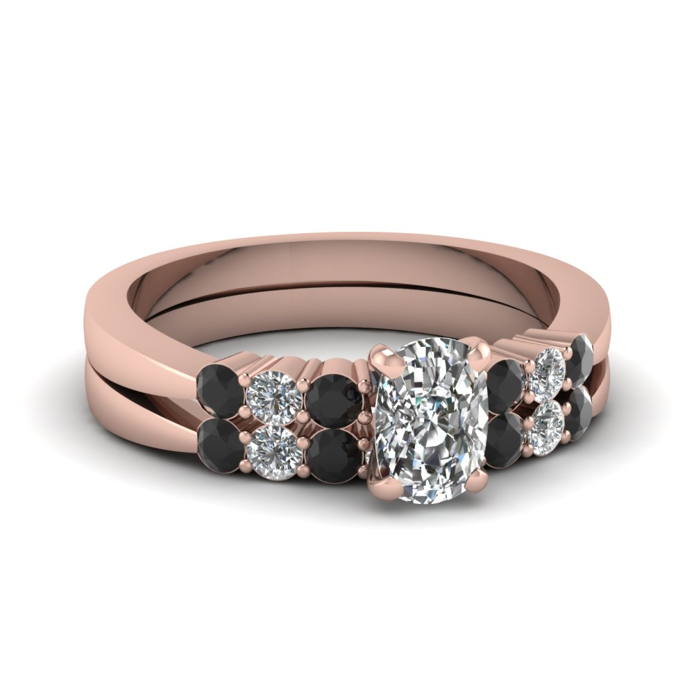 rose gold cushion white diamond engagement wedding ring - Black And Pink Wedding Ring Sets
