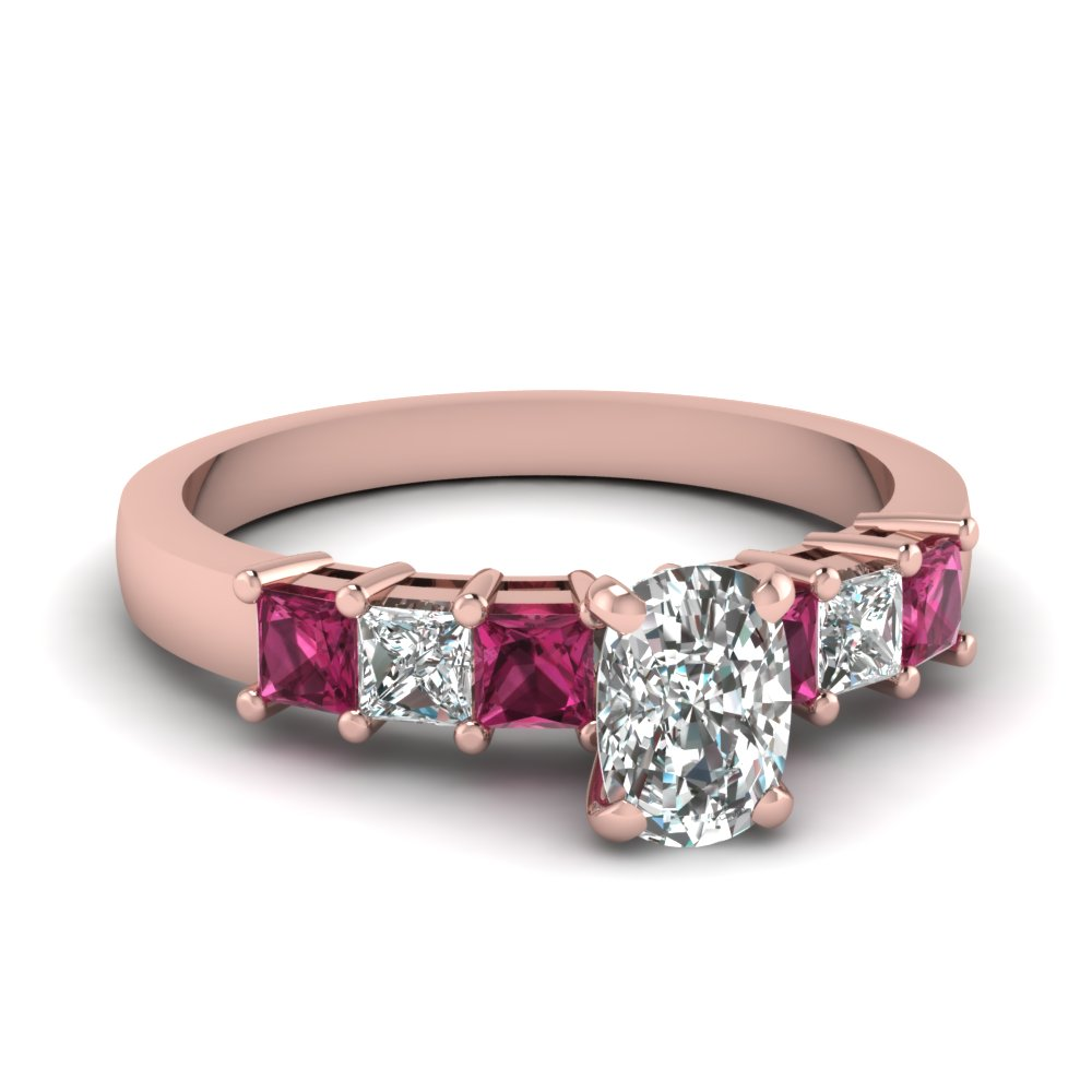 Cushion Cut Diamond Engagement Ring With Pink Sapphire Accents