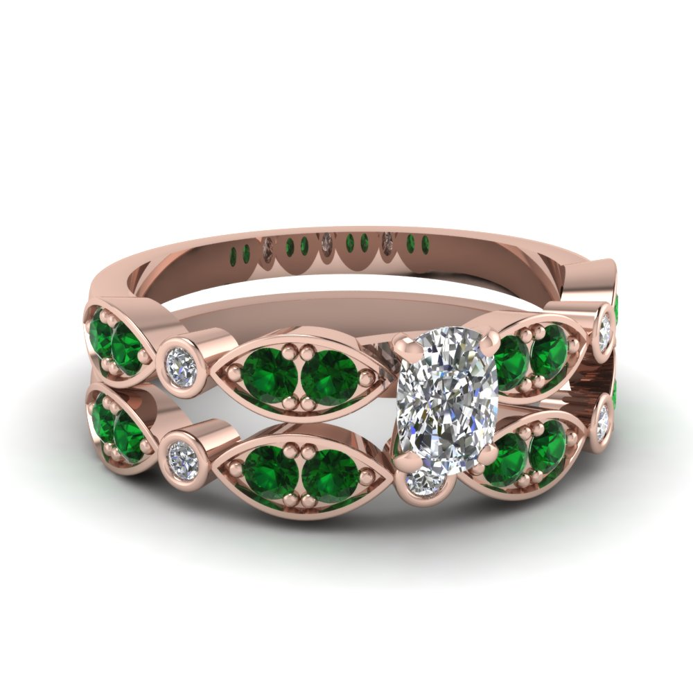 rose-gold-cushion-white-diamond-engagement-wedding-ring-with-green-emerald-in-pave-bezel-set-FDENS2035CUGEMGR-NL-RG