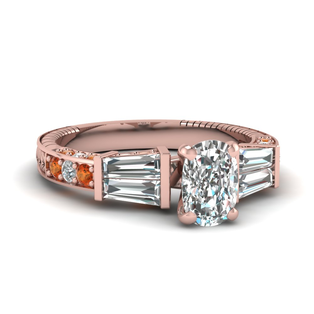 vintage baguette cushion diamond engagement ring with orange sapphire in FDENS318CURGSAOR NL RG
