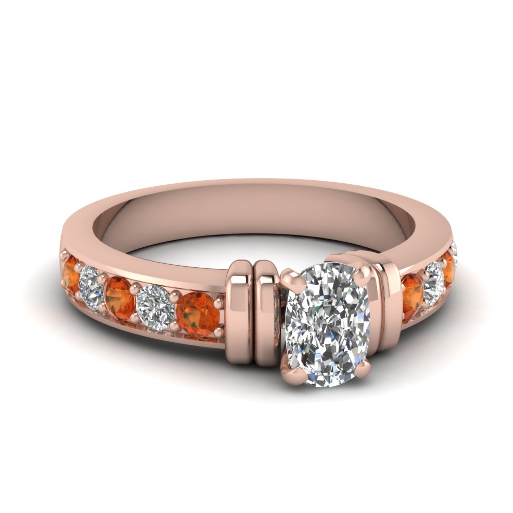 simple bar set cushion diamond engagement ring with orange sapphire in FDENR957CURGSAOR Nl RG