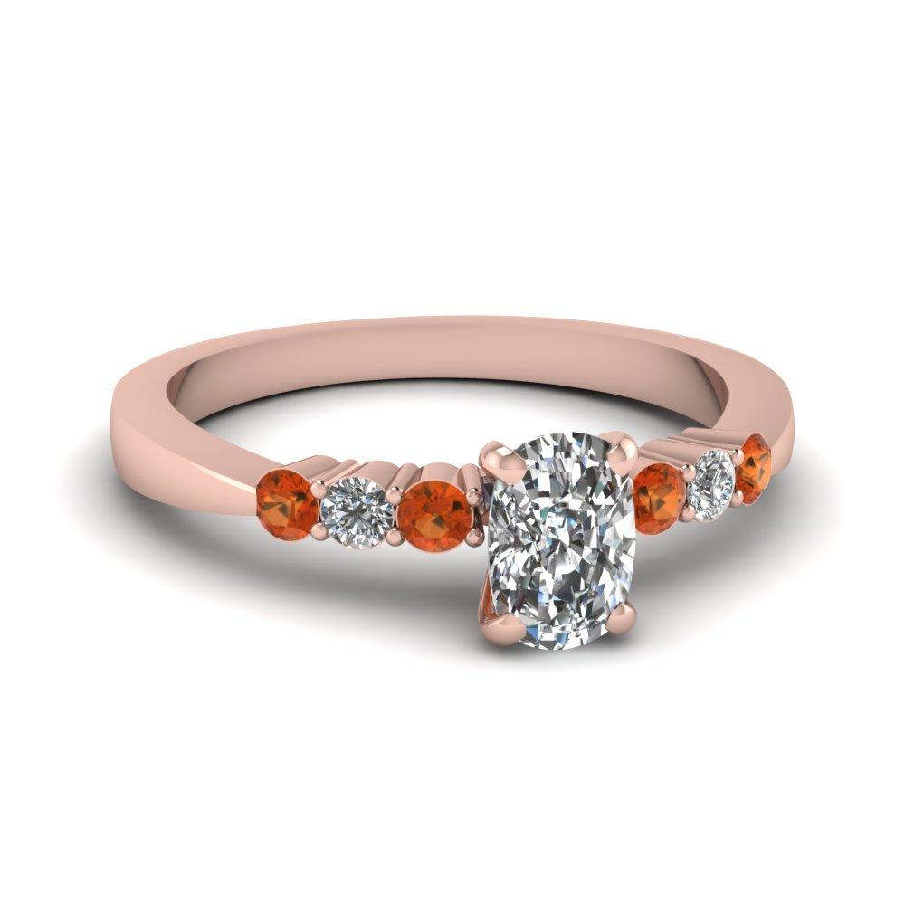 cushion cut tapered 7 stone engagement ring with orange sapphire in FDENS750CURGSAOR NL RG