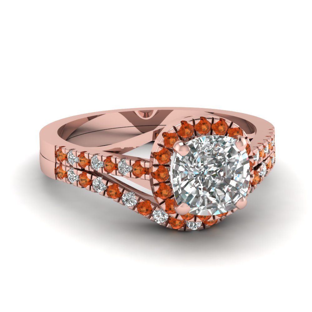 french pave cushion halo diamond wedding set with orange sapphire in FDENS3149CUGSAOR NL RG.jpg