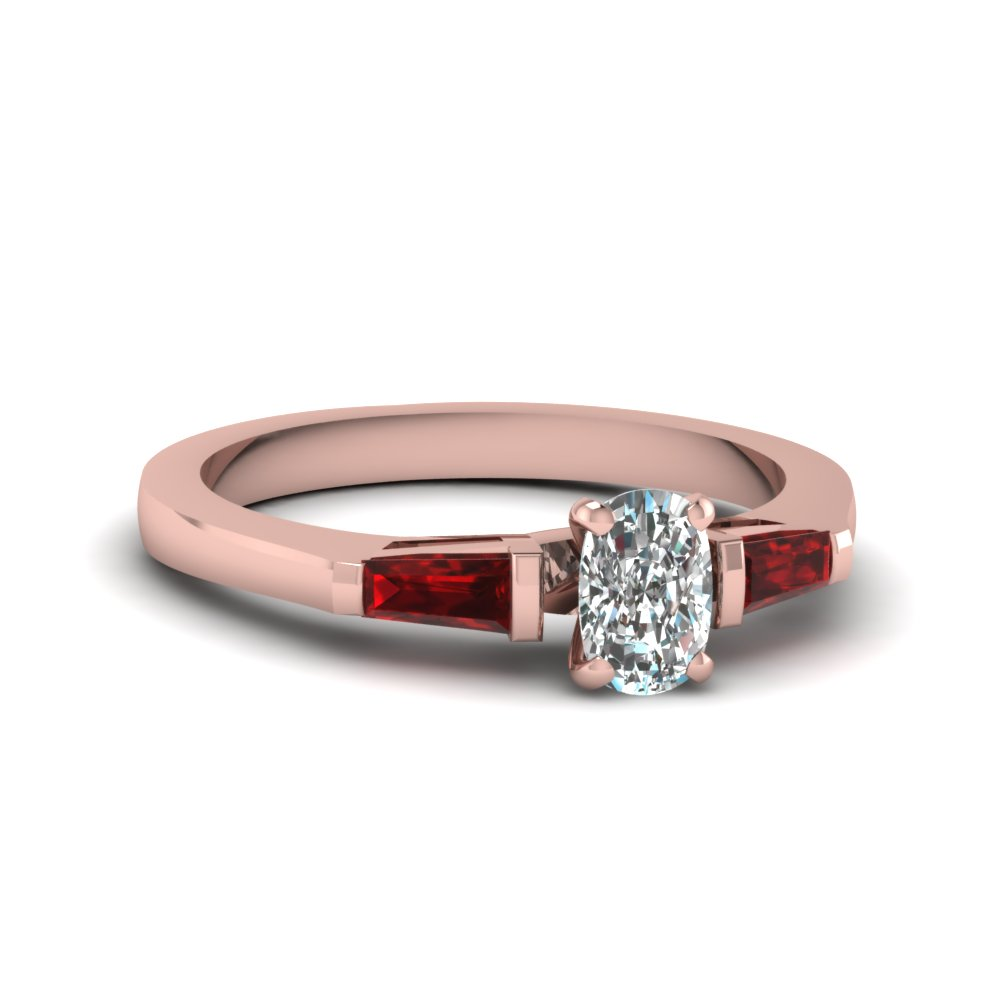 Cushion Cut diamond 3 Stone Engagement Rings with Red Ruby in 14K Rose Gold