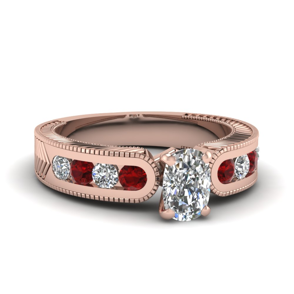 channel set cushion diamond vintage engagement ring with ruby in FDENS609CURGRUDR NL RG