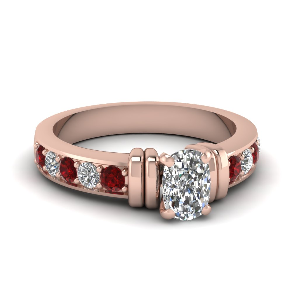 simple bar set cushion diamond engagement ring with ruby in FDENR957CURGRUDR Nl RG