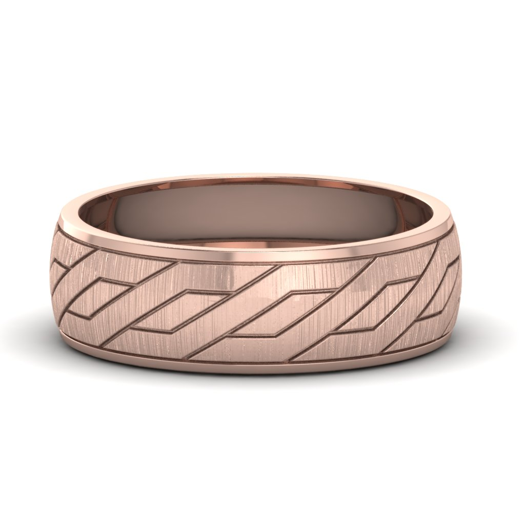 Unique And Affordable 14k Rose Gold Mens Wedding Band