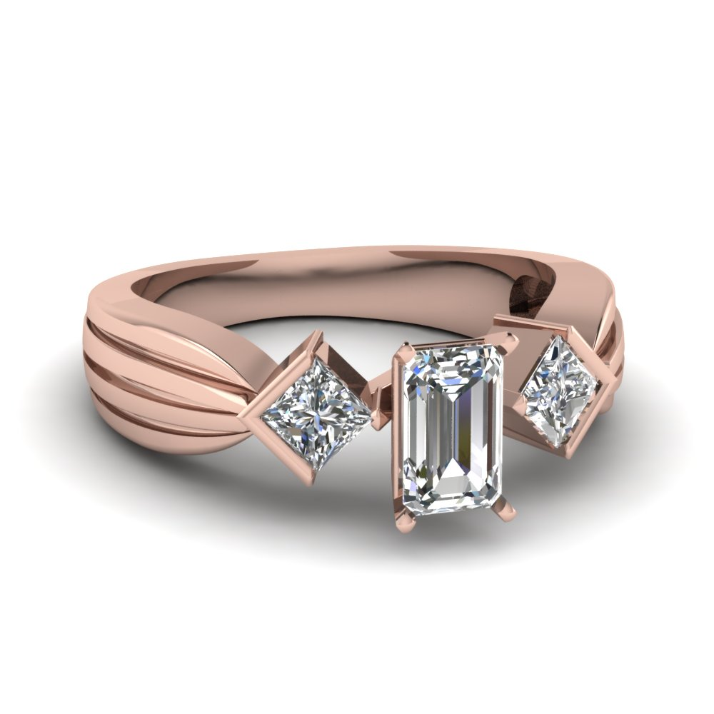 Half Bezel 3 Stone Emerald Cut Ring
