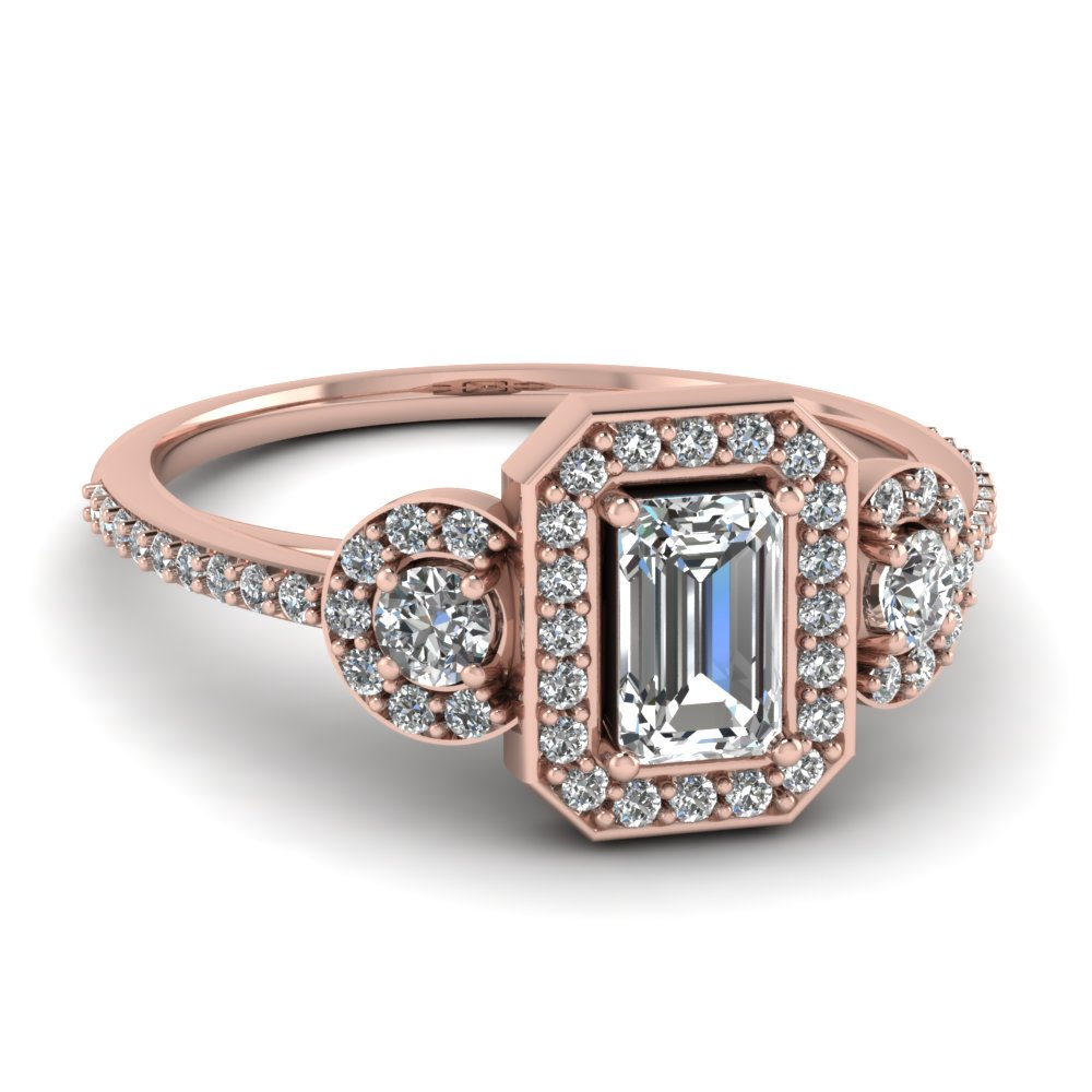 Art Deco 3 Stone Halo Ring