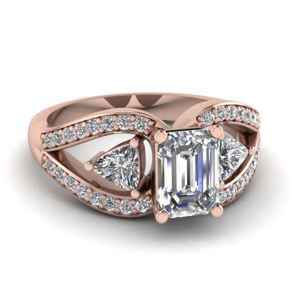 Butterfly Trillion Emerald Cut Ring