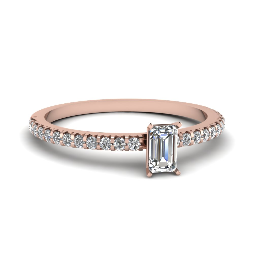 Floating Thin Oval Diamond Engagement Ring In 14K Rose Gold