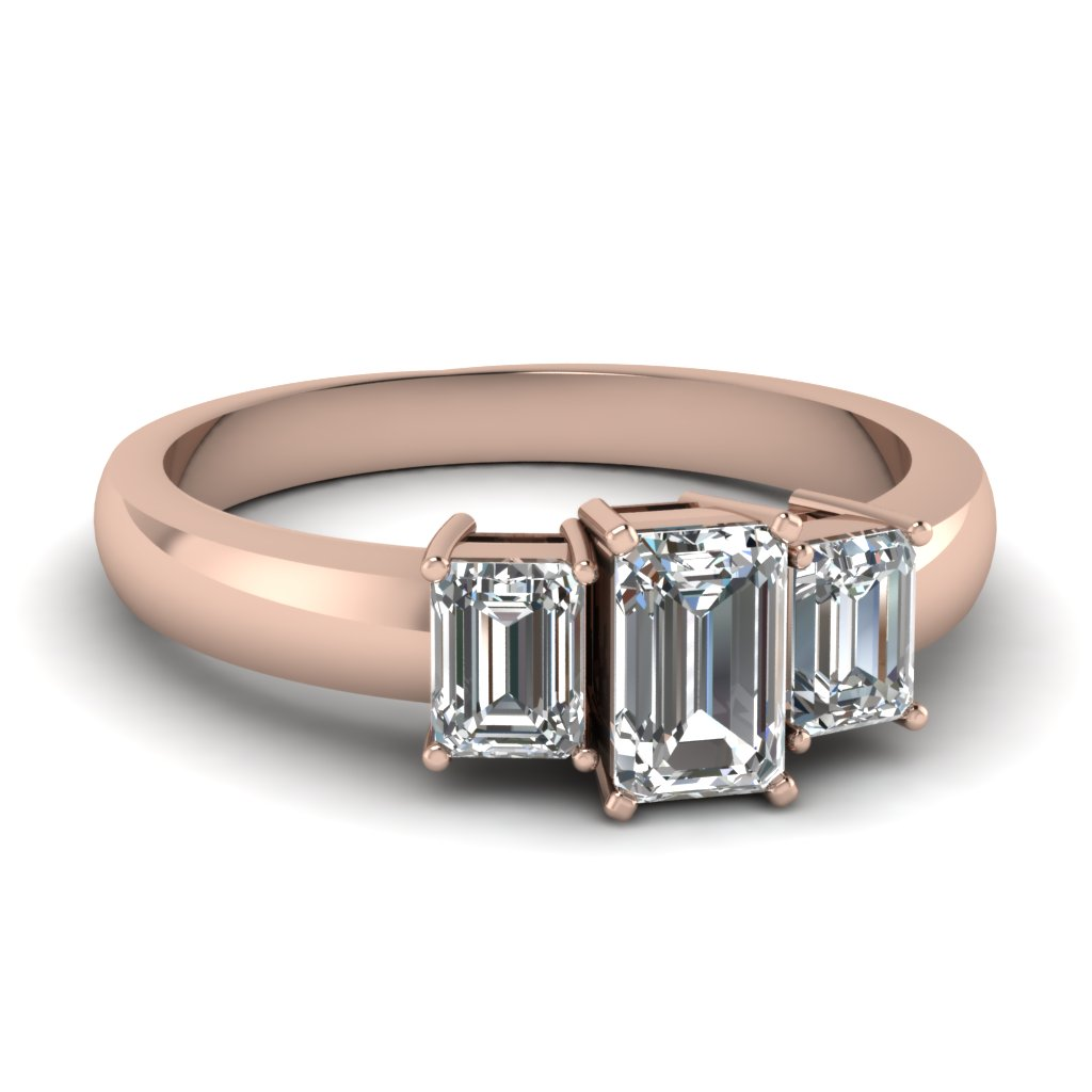 Emerald Cut 3 Stone Engagement Ring