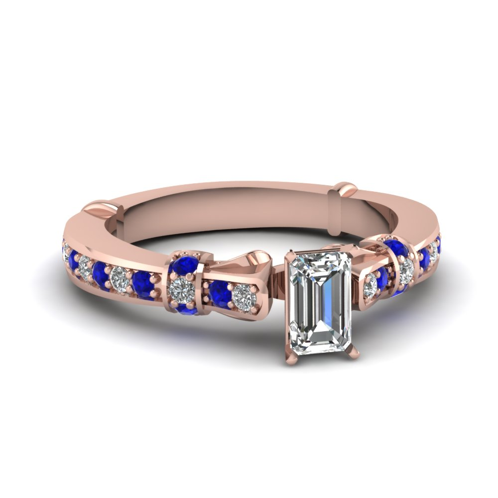 emerald cut antique high set diamond ring with blue sapphire in FDENS3318EMRGSABL NL RG
