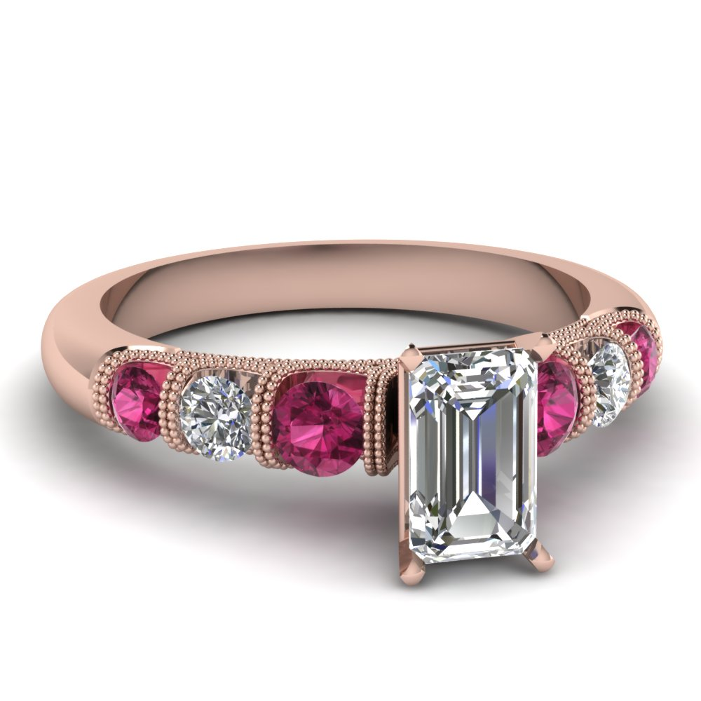 Emerald Diamond Milgrain Ring with Pink Sapphires